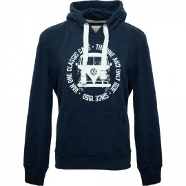 Van One Classic Cars Bulli Face Used VW heren hoodie Navy White