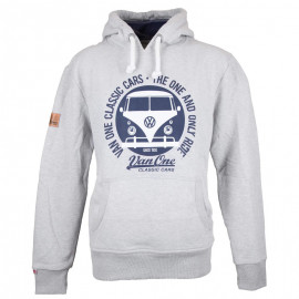 Van One Classic Cars Bulli Face VW heren hoodie Light grey navy